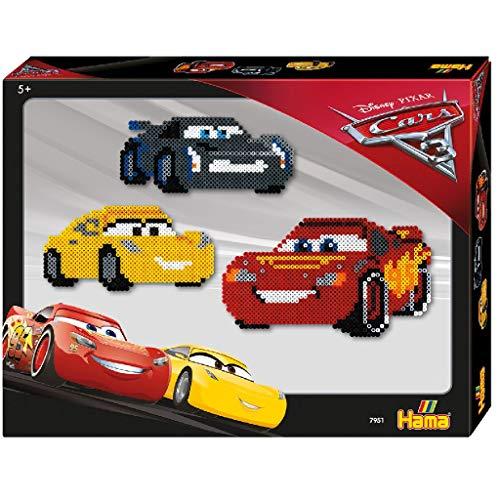 Hama Perlen 7951 Geschenkset Disney Pixar Cars 3 mit ca. 4.000 bunten Midi Bügelperlen mit Durchmesser 5 mm, 2 Stiftplatten, inkl. Bügelpapier, kreativer Bastelspaß für Groß und Klein
