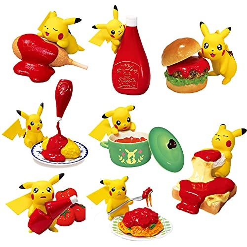 wwbfdc 8Pcs / Set Pokemon Food Spiel Anime Figuren Pikachu Liebt Ketchup Actionfiguren 2-5Cm, Blind Box Spielhaus Spielzeug Kawaii Kinder Geschenke