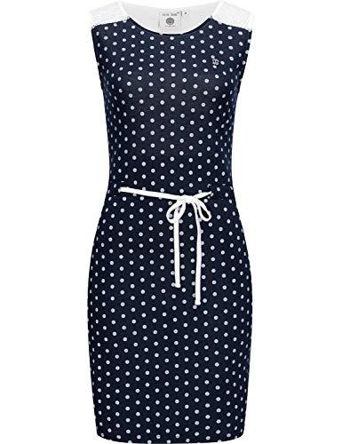 Peak Time Damen Sommerkleid Strandkleid mit Spitze L80002 Navy Dots Gr. XS