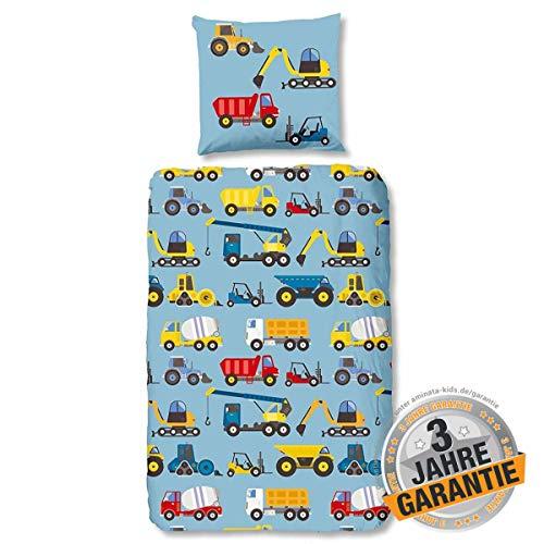 Aminata Kids süße Kinderbettwäsche 135x200 Baumwolle Auto Baustelle + Kopfkissen 80 x 80 cm Jungen, blau, bunt - Reißverschluss, Bettwäsche mit Feuerwehr-Auto-Motiv, Bagger-Motiv, Baufahrzeuge