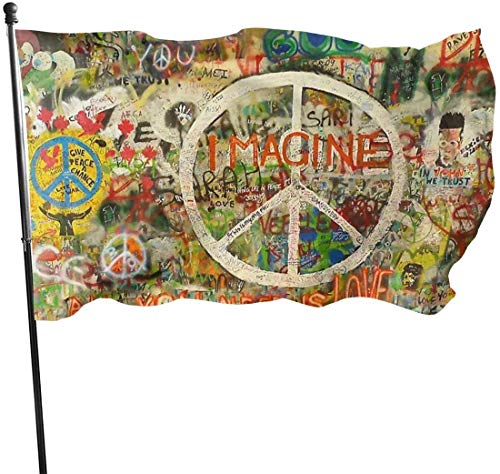 GYUB Hof Flagge Beautiful Garden Flags for Outdoors, Graffiti Wall with Peace Sign Decoration | Durable, Polyester, 3X5 Ft