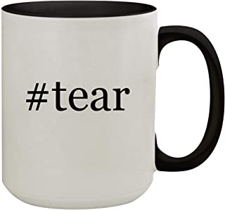 #tear - 15oz Hashtag Colored Inner & Handle Ceramic Coffee Mug, Black