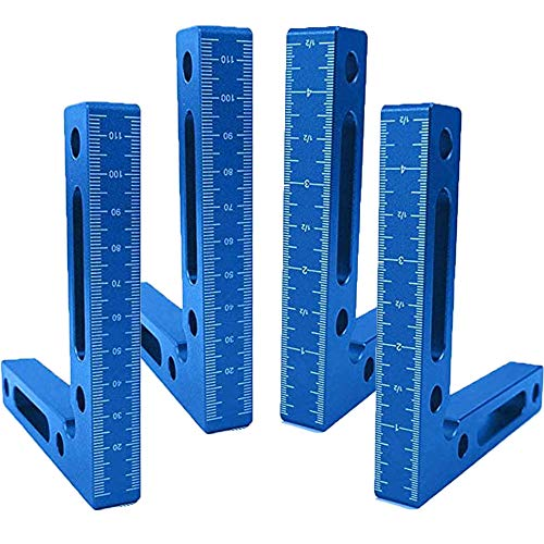 90 Degree Positioning Squares Aluminium Alloy, 4 pcs Right Angle Clamps Woodworking Carpenter Tool, 4.7