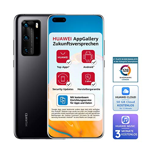 HUAWEI P40 Pro Dual-SIM BUNDLE (16,7 cm (6.58 Zoll), 256 GB interner Speicher, 8 GB RAM, Android 10.0 AOSP ohne Google Play Store, EMUI 10.0.1) Midnight Black [+5EUR Amazon Gutschein]