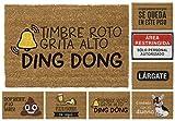 TIENDA EURASIA® Felpudos Entrada Casa Originales y Divertidos - Material : Fibra de Coco HQ con Base Antideslizante de PVC - Medidas : 40x70 cm (Timbre Roto)