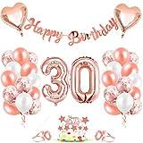 30er Cumpleaños Globos, Decoración de cumpleaños 30 en Oro Rosa, Cumpleaños 30 Año Globos Niñas, Feliz Cumpleaños Decoración Globos 30 Años, Globos de Confeti y Globos de Aluminio para niñas y Mujeres