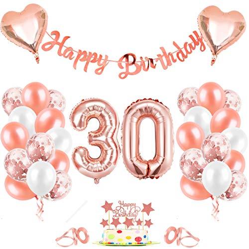 Bluelves Oro Rosa Palloncini 30, Palloncini Compleanno 30 Anno, Palloncino Numero 30, Palloncini Pompleanno, Numero 30 Gonfiabile Compleanno, Compleanno Palloncini in Lattice Coriandoli Palloncini