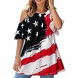 Mayntop T-shirt d'été pour femme Motif drapeau américain 4 juillet 4 juillet, a-noir, 40