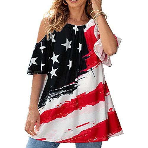 Mayntop Camiseta para mujer de verano con la bandera de América del 4 de julio y el cuarto hombro frío manga corta modelo de fibra de leche, A-negro, 38