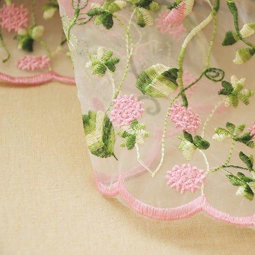 Tela de encaje organza rosa flor bordado boda tela 129,5 cm ancho por yarda