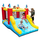 Doctor Dolphin Inflatable Bounce House with Large Slide, Indoor & Outdoor Bouncy Castle for Toddlers, Kids Jumping and Slide Castle with Air Blower