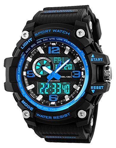 Relojes Deportivos para Hombre, Resistente al Agua Digital Militares Relojes con Cuenta atrás/Temporizador para los Hombres niños Grandes,LED de analógico Relojes de Pulsera para Hombre – Azul BHGWR