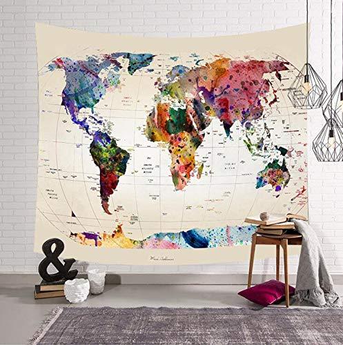 KHKJ Mapa del Mundo habitación Manta Colgante de Pared Tapiz Tienda de campaña colchón de Viaje Manta de Toalla de Playa Arte decoración del hogar A1 200x150cm