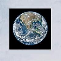 """地球宇宙月惑星絵画キャンバスプリント壁アート写真ポスターリビングルーム寝室スペース家の装飾19.6"""" x19.6""""(50x50cm)フレームなし"""