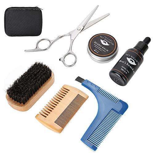 7 pezzi/set strumenti per modellare la barba, uomini portatili modellare la barba con crema olio spazzola pettine forbici borsa di immagazzinaggio baffi regalo per la cura dei capelli per gli uomini