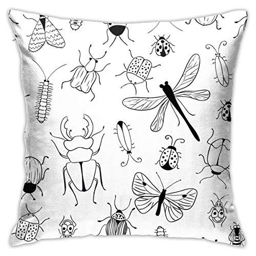 AEMAPE Funda de Almohada con diseño de Insectos y Mariposas, Funda de cojín Cuadrada, sofá para el hogar, Decorativo, 40X40 cm