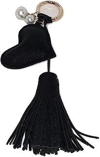Black Heart Fringe Tassel Pearls Key Chain for Purse Handbag Mother's Day Gift