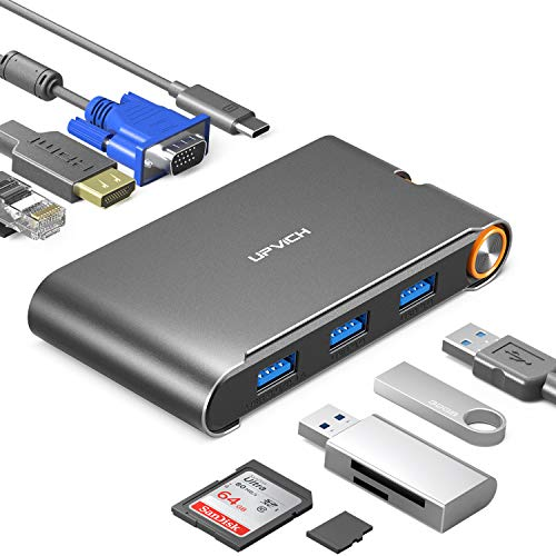 UPVICH USB Type C Hub,Laptop USB C Docking Station,7-in-1 USB C Adapter with 4K USB C to HDMI,1080p VGA and Gigabit Ethernet Ports,3 USB 3.0 and PD(Power Delivery 100w) Ports (201-10)