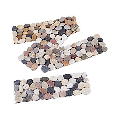TRI Stein-Fliesen, 1 Set 4 Teile, Kieselsteine, Mosaikfliesen, Naturstein, Bodenfliesen, Beetumrandung, Rasenkante, froststicher, Polyamid, 10 x 30 cm