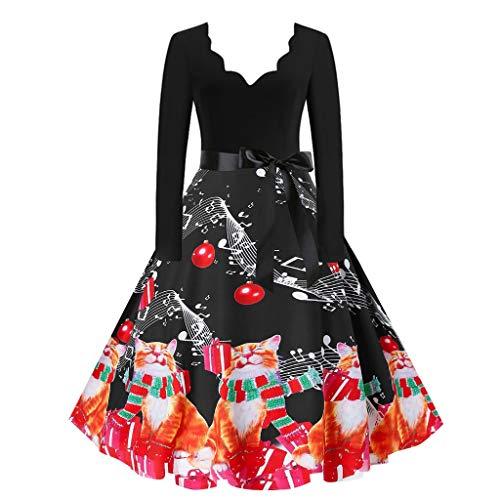 Dosoop - Vestido de manga larga vintage de los años 50 de Navidad de invierno completo de fiesta de fiesta de baile con cuello en V Swing Midi vestido de una línea de vestidos, XXL