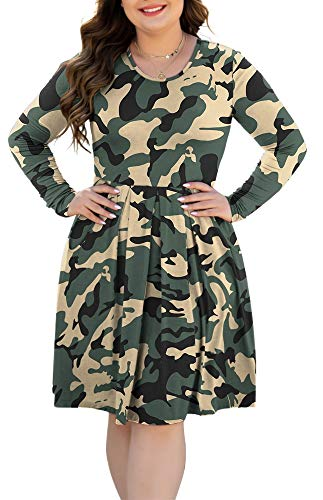 HAOMEILI Women's Plus Size Long Sleeve Pleated Causal Swing Dress with Pockets for Party 3XL Camo