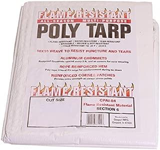 Flame Resistant Poly Tarp - 7.5 MIL - 100% Waterproof, Washable, Mildew & Rot Resistant (15x20)