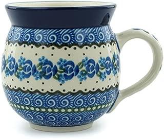 Polish Pottery 11 oz Bubble Mug made by Ceramika Artystyczna (Blue Bud Sea Theme) plus Certificate of Authenticity