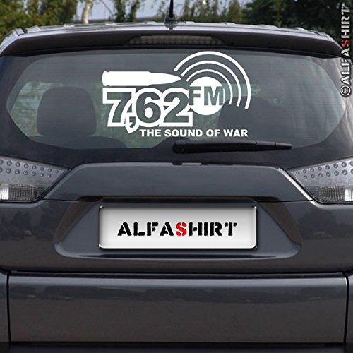 Copytec 7,62FM-Militär Radio Radiosender Musik Humor Fun Spaß Aufkleber Army Bundeswehr 7,62mm Patrone Munition Heckscheibe Klebefolie Auto KFZ PKW Alfashirt (weiß,25x14cm) #A407