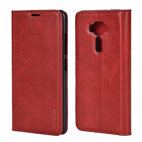 Mulbess Handyhülle für Asus ZenFone 3 ZE520kl Hülle Leder, Asus ZenFone 3 ZE520kl Handytasche, Slim Flip Schutzhülle für Asus ZenFone 3 ZE520kl Hülle, Wein Rot