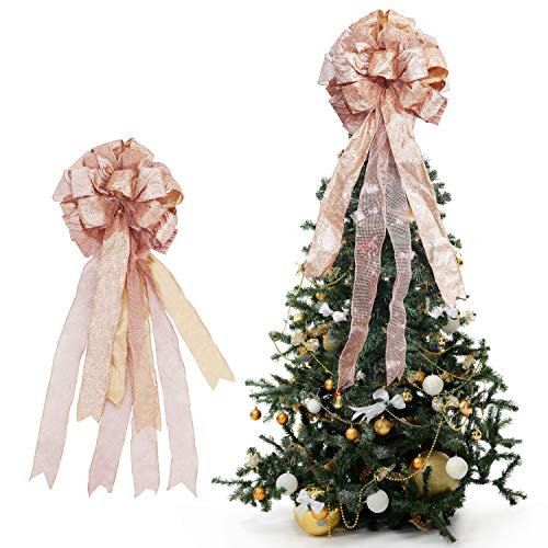 BELLE VOUS Christmas Tree Topper - 86 x 33 cm Rose Gold Colour Polyester Large Toppers Bow with Streamer Wired Edge - Glitter Tree Topper Ornaments for Xmas Party Decorations