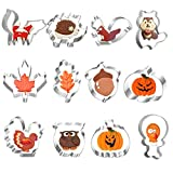 Otoño Thanksgiving Galletas Cortador,Moldes para Galletas, Molde Galletas, Calabaza, Pavo, Ardilla y Bellota Cortadores Galletas, Acero Inoxidable, 12 Piezas