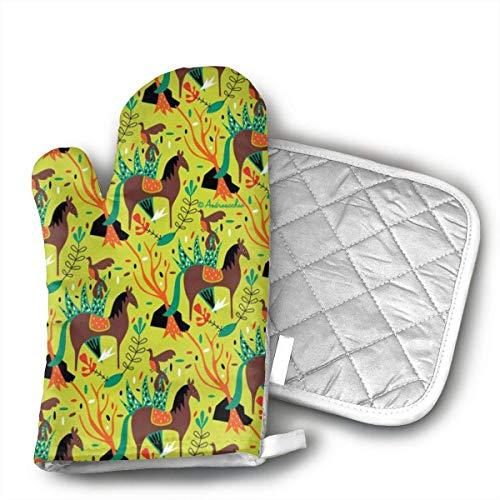 Mitones y agarraderas para hornos Caballo Pájaro Patrón Juego de cocina resistente al calor Agarre antideslizante Guantes para horno BBQ Cook Bak Grill Juego de 2
