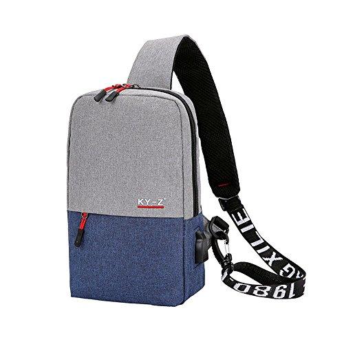 XiaoLu Les Sports Sac à l'épaule, la Poche Poitrine tarification Sports Loisirs Cartable USB Sac à l'épaule,Blue
