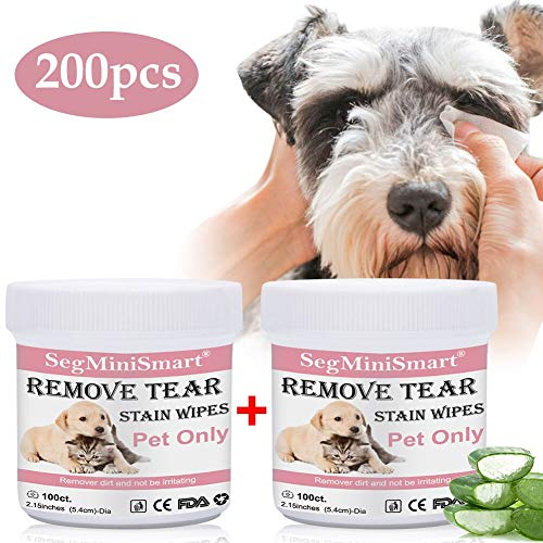 Tear Stain Remover Wipes for Cats & Dogs, Cat Eye Wipes, Pet Eye Cleaning Wipes, Tears Stain Removing Treatment, Best Natural Eye Crust Treatment for White Fur, 200 Pre Soaked Cotton Pads