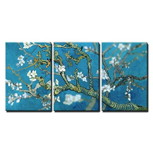 wall26 3 Piece Canvas Wall Art - Van Gogh's Masterpiece Almond Blossoms Retouched -