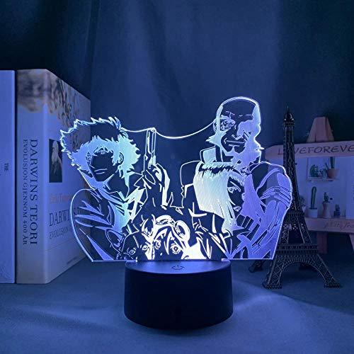 Anime Cowboy Bebop Led Luz para Dormitorio Noche Decorativa Niños Niños Regalo de Cumpleaños Manga Cowboy Bebop 3D Lámpara Mesita de noche
