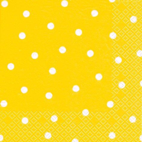 20 Servietten weiße Punkte auf gelb/gepunktet/Muster/zeitlos 33x33cm