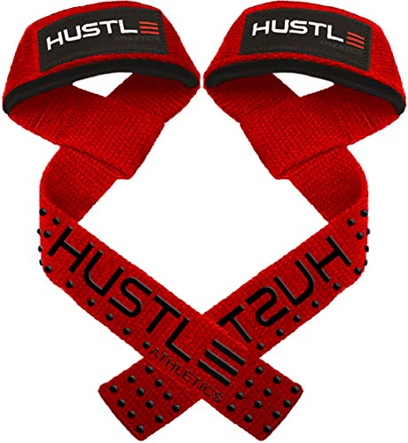 "Hustle Athletics Weight Lifting Straps - 24"" Soft Cotton Deadlift Straps with Silicone Grip and Wrist Straps for Weight Lifting - Prevent Grip Slip and Lift Heavier with a Solid Grip (Red/Black)"