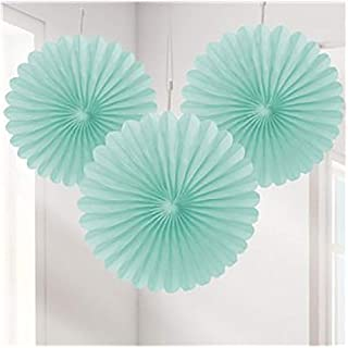 Rimi Hanger Adult Tissue Paper Mini Fan Party Decoration Pack of 3 Birthday Party Supplies Mint One Size