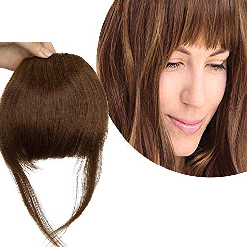 Extension Frangia Clip Capelli Veri Frangetta con Tempie - 100% Remy Human Hair Bangs Estensioni Corti Lisci Folti Invisibile Naturali Umani, 4 Marrone Cioccolato