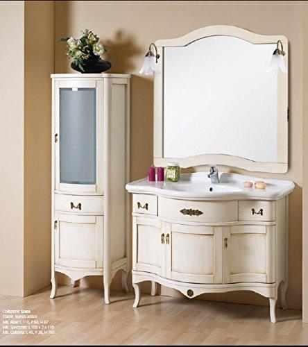 Bagno Italia Mobile Arredo Bagno cm 109 anticato decapè in 4 colori con lavabo in ceramica e specchio Mobili 1 l