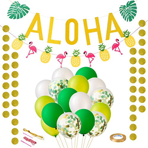 LIHAO Hawaiian Party Decoration Tropical Party Decoration Set Luau Party Supplies Aloha Banner 20 PCS Flamingo Pineapple Palm Leaves Garland Banner Tropical