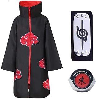 Baipin 3 Piezas Set Disfraz de Itachi Uchiha (Akatsuki) Cosplay Naruto Capa Larga de Naruto Akatsuki Diadema de Naruto Lea...