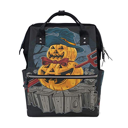 NHJYU Pumpkin Halloween Trick Treat Travel Sac à dos Large Nappy Sac à langer Laptop Sac à doss for Women Men