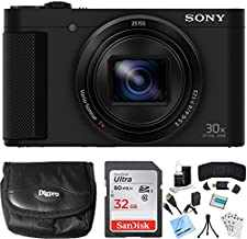 Sony Cyber-Shot HX80 Compact Digital Camera with 30x Optical Zoom Black Bundle with Point and Shoot Field Bag Camera Case, 32GB Memory Card, HDMI Cable and Accessories (8 Items)
