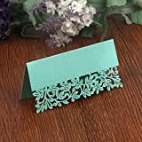 T-shin 50PCS Wedding Guest Name Place Cards Party Table Name Place Cards Paper Table Numbers Place Card Escort Name Card Laser Cut Design for Wedding Party Decoration Favor (Pink-Flowers)