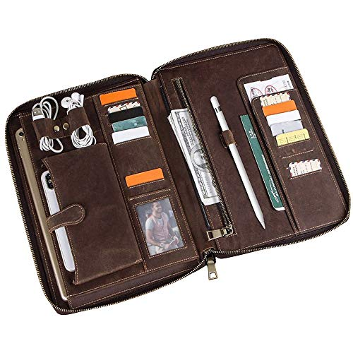 Ancicraft Leather Portfolio Zippered for Men Women iPad Pro 10.5 inch Case with Business Cards Sleeve Pencil Holder Phone Notebook Pocket Cables Organizer Brown