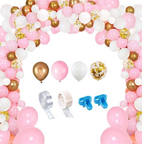 Evance Kit de Guirnalda de Globos 128 Piezas Guirnalda de Arco de Látex Globos Confeti Blanco y Dorado Lleno Paquete de Globos para Decoración de Boda Cumpleaños Fiesta (128 Piezas)