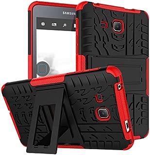 Samsung Galaxy Tab A6 7.0 2016 T280 T285 Case, BAUBEY Hybrid Rugged Armor Tough Shock Proof Hard Tire Tread Rubber Case Cover Stand for Samsung Galaxy Tab A6 7.0 SM-T280 SM-T285 (Red)