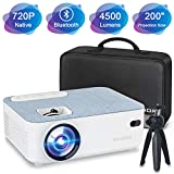 FANGOR Bluetooth Mini Projector 720P Native 4500 lumens, 1080P and 200'' Display Supported